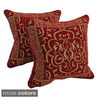 Blazing Needles Chenille Corded Byzantium Throw Pillows (Set of 2)