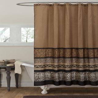 Lush Decor Tribal Dance Brown Shower Curtain