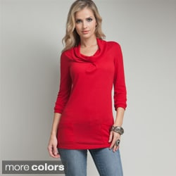 Stanzino Women's Cowl Neck Front Pocket Tunic