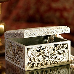 Soapstone 'Poppies' Jewelry Box (India)