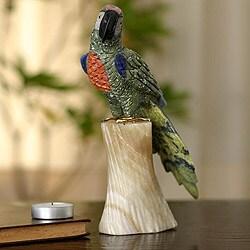 Handcrafted Gemstone 'Forest Macaw' Sculpture (Peru)