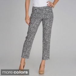 Sharagano Women's Leopard Print Slim Leg Ankle Pants