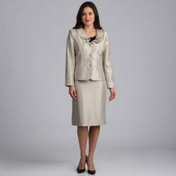 Danillo Women's Champagne Ruffle Collar Skirt Suit