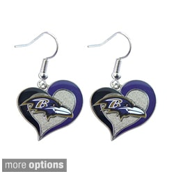 NFL Team Logo Silvertone Heart-shaped Earrings