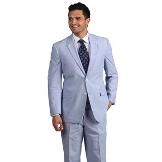Adolfo Men's Blue and White Pinfeather 2-button Suit
