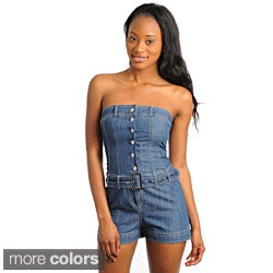 Stanzino Women's Belted Denim Romper