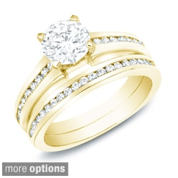 14k Gold 1ct TDW Certified Diamond Bridal Ring Set (H-I, SI1-SI2)