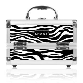 Shany Zebra Makeup Train Case with Mirror