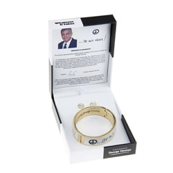 Whatever It Takes George Clooney Goldtone Magnetic Bangle Bracelet and Stud Earrings Jewelry Set