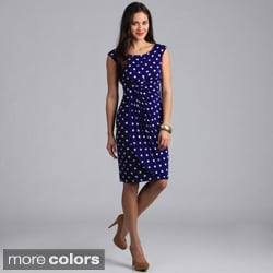 Connected Apparel Women&#39;s Big Dot Print Cap Sleeve Draped Dress