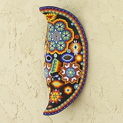 Handcrafted Beadwork 'The Moon's Healing Magic' Huichol Mask (Mexico)