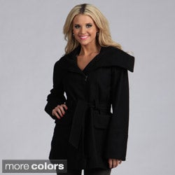 Trilogi Women's Wool Belted Funnel Neck Collar Coat