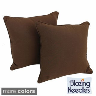 Blazing Needles 18-inch Twill Throw Pillows with Cording and Insert (Set of 2)