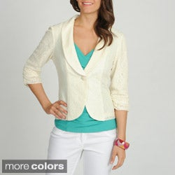 Annalee + Hope Women's Allover Lace Single Button Blazer