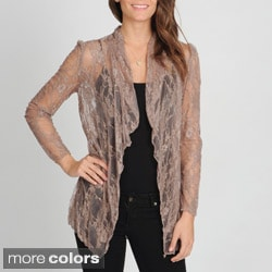 Annalee + Hope Women's Lace Drape-front Cardigan