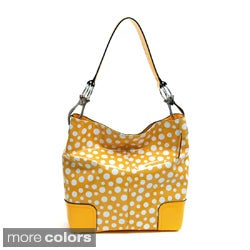 Dasein Women's Glossy Polka Dot Hobo Bag