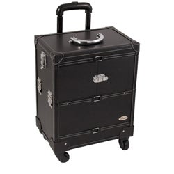 Sunrise Black Leather 3-Tier Extendable Tray Makeup Train Case