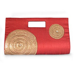 Silk Blend &#39;Scarlet Golden Orbits&#39; Beaded Clutch Handbag (India)