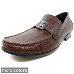 Ferro Aldo Men&#39;s Snake Textured Buckle Loafers