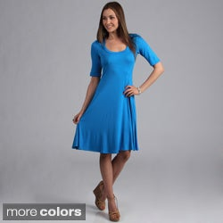 24/7 Comfort Apparel Women&#39;s Solid Knee-length Dress
