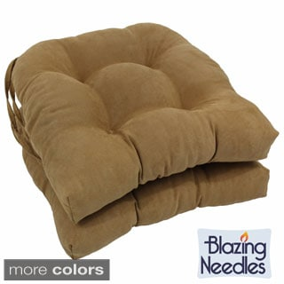 Blazing Needles Neutral 16-inch U-shaped Microsuede Dining Chair Cushions (Set of 2)
