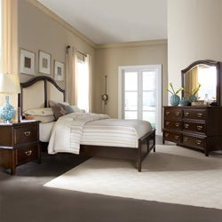Isabel Dark Cherry Brown Transitional 4-piece Queen-size Bedroom Set