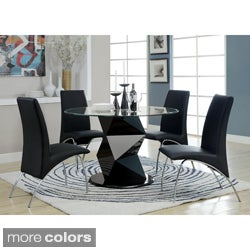 Enitial Lab Contemporary Picazzo Round 48-inch Tempered Glass 5-piece Dining Set