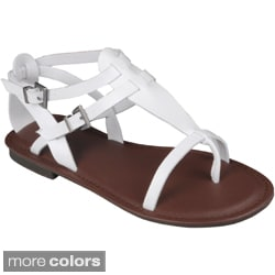 Journee Collection Women&#39;s &#39;Cable-14&#39; T-strap Flat Sandals