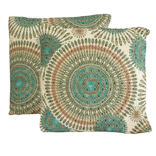 Christopher Knight Home 16-inch Gold Floral Circles Pillows (Set of 2)