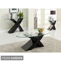 Furniture of America Cass 3-piece Modern Accent Sofa, Coffee, End Table Set