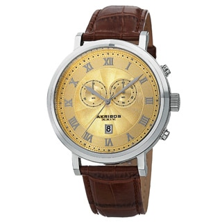 Akribos XXIV Men's Brown Leather Silver-Tone Strap Swiss Collection Chronograph Watch with Gold Face