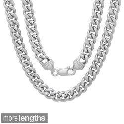 Sterling Essentials Rhodium-plated 5.5mm Men's Cuban Link Chain (22-24 inches)