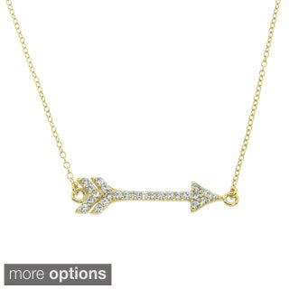 Eternally Haute Gold over Sterling Silver CZ Sideways Cupid's Arrow Necklace