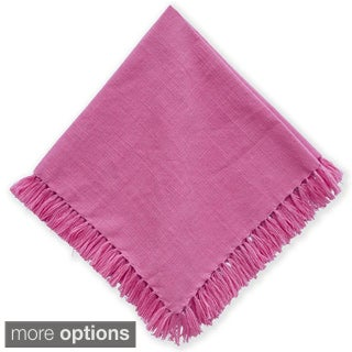Mahogany Rose Fringed Cotton Set of 4 Napkins