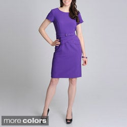 R & M Richards Women's Belted Fashion Dress