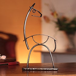 Handcrafted Steel 'Andean Llama' Sculpture (Peru)
