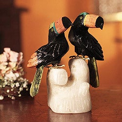 Handcrafted Multi-gemstone 'Two Toucans' Sculpture (Peru)