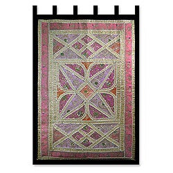 Handcrafted Cotton 'Floral Star' Beaded Wall Hanging (India)