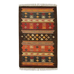 Hand-woven Wool 'Window to Marzipur' Red Brown Rug (3 x 5) (India)