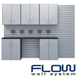 Flow Wall 3-Wall and 2-Base Cabinet Workstation with Bins