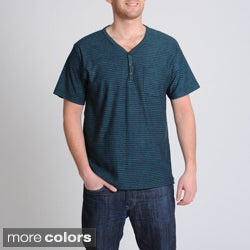 Burnside Men's Striped Y-neck Henley Pocket Shirt