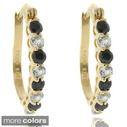Dolce Giavonna 18k Gold over Silver Gemstone and White Topaz Hoop Earrings