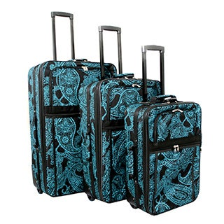 World Traveler Damask Expandable 3-piece Wheeled Upright Luggage Set