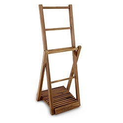 Handcrafted Teakwood 'Jepara Tower' Towel Rack (Indonesia)