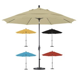 Premium 11-foot Fiberglass Collar Tilt Umbrella with Stand