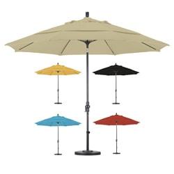 Lauren & Company Premium 11-foot Fiberglass Collar Tilt Umbrella with Stand
