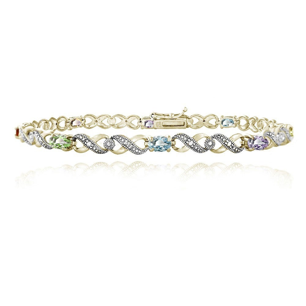 Glitzy Rocks 18k Gold over Silver Ruby and Diamond Infinity Bracelet
