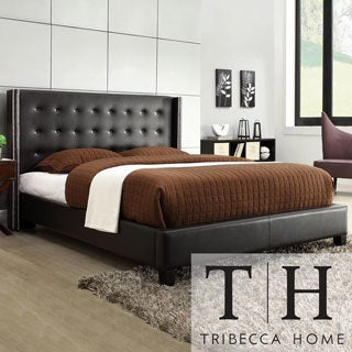 Tribecca Home Francesca Black Bonded Leather Wingback Bed