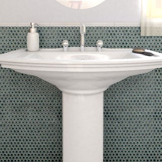 SomerTile 12x12.25-inch Penny Emerald Porcelain Mosaic Floor and Wall Tile (Pack of 10)