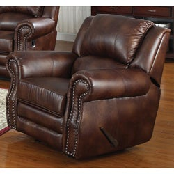 Fulton Brown Bonded Leather Rocking Chair